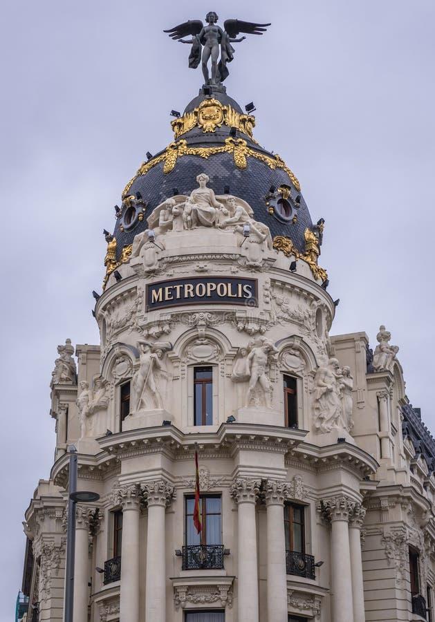 Здание метрополии в Мадриде стоковое изображение