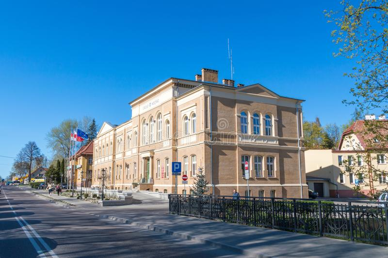 Здание здание муниципалитета Ostroda стоковое изображение rf