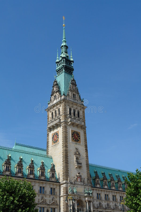 здание муниципалитет hamburg стоковая фотография