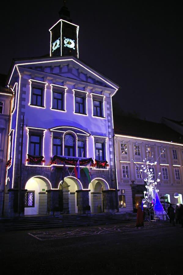 здание муниципалитет ljubljana стоковые изображения