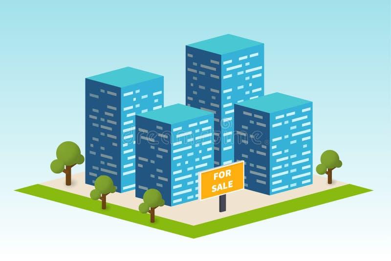Здание недвижимости Вектор компании Constraction иллюстрация штока