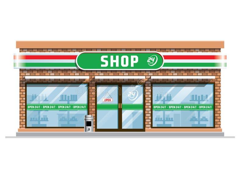 Здание ночного магазина иллюстрация вектора