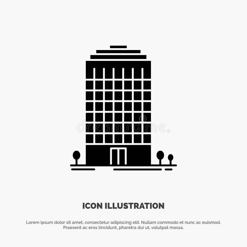Здание, офис, башня, вектор значка глифа космоса твердый бесплатная иллюстрация
