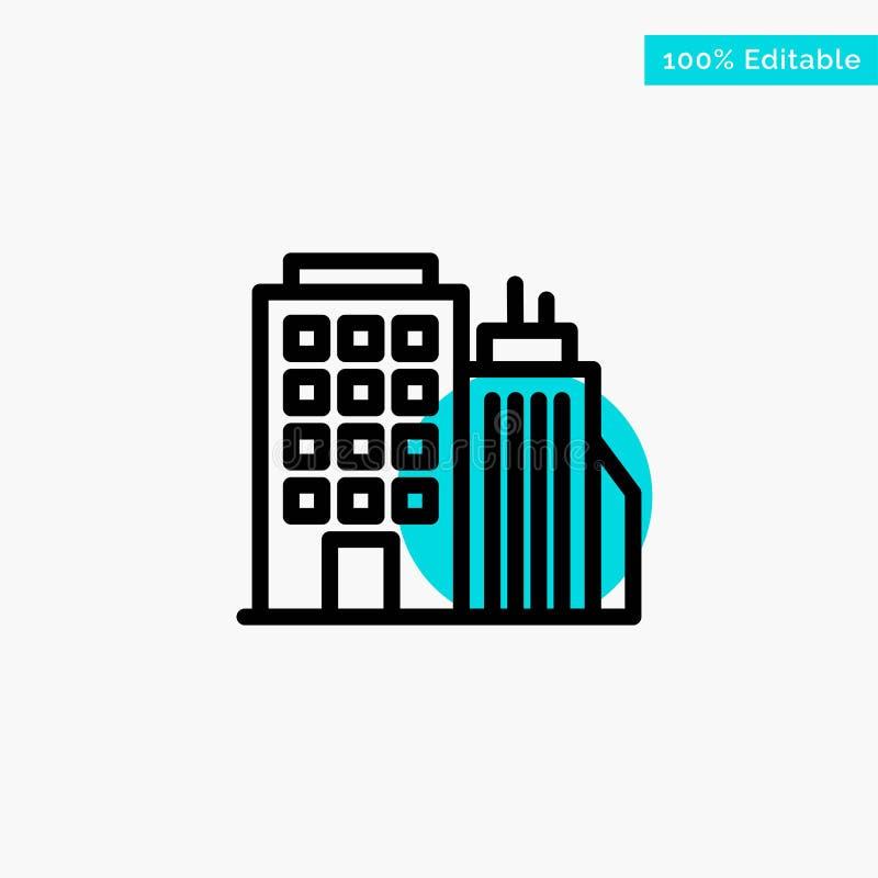 Здание, офис, башня, значок вектора пункта круга самого интересного бирюзы головного офиса иллюстрация вектора