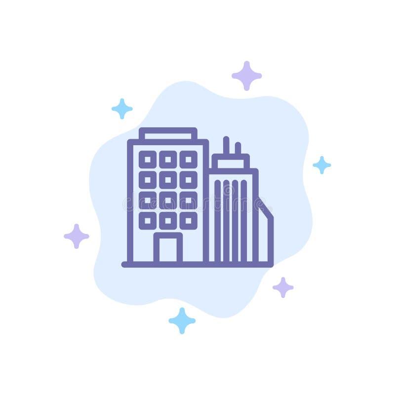 Здание, офис, башня, значок головного офиса голубой на абстрактной предпосылке облака иллюстрация вектора