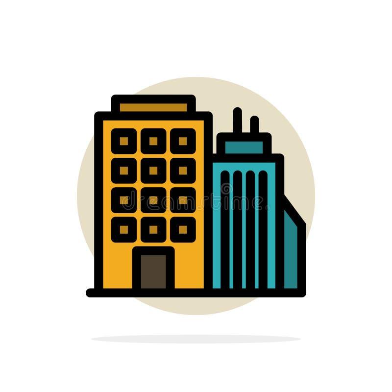 Здание, офис, башня, значок цвета предпосылки круга конспекта головного офиса плоский иллюстрация вектора