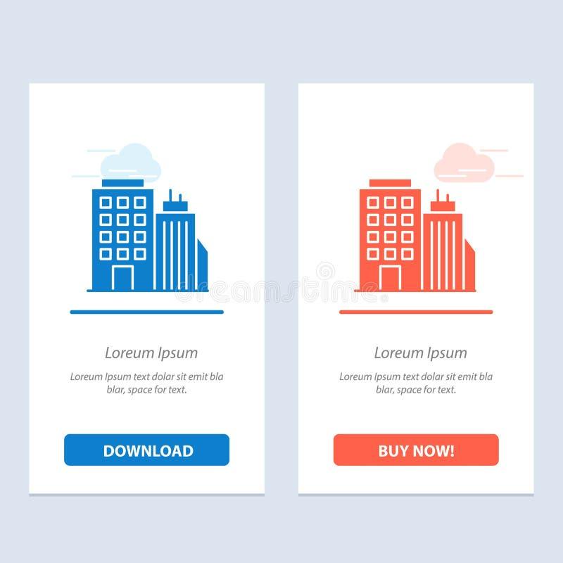 Здание, офис, башня, синь головного офиса и красная загрузка и купить теперь шаблон карты приспособления сети бесплатная иллюстрация