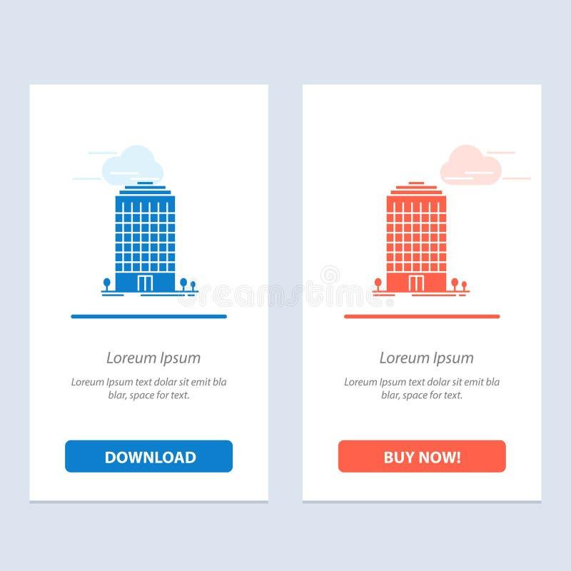 Здание, офис, башня, синь космоса и красная загрузка и купить теперь шаблон карты приспособления сети иллюстрация штока