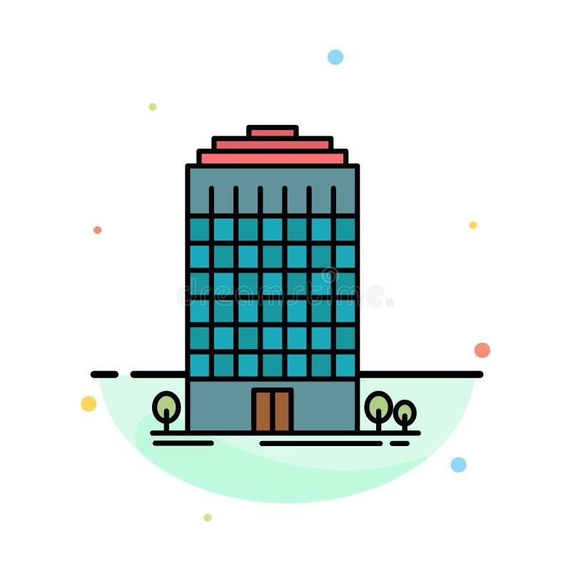 Здание, офис, башня, шаблон значка цвета конспекта космоса плоский бесплатная иллюстрация
