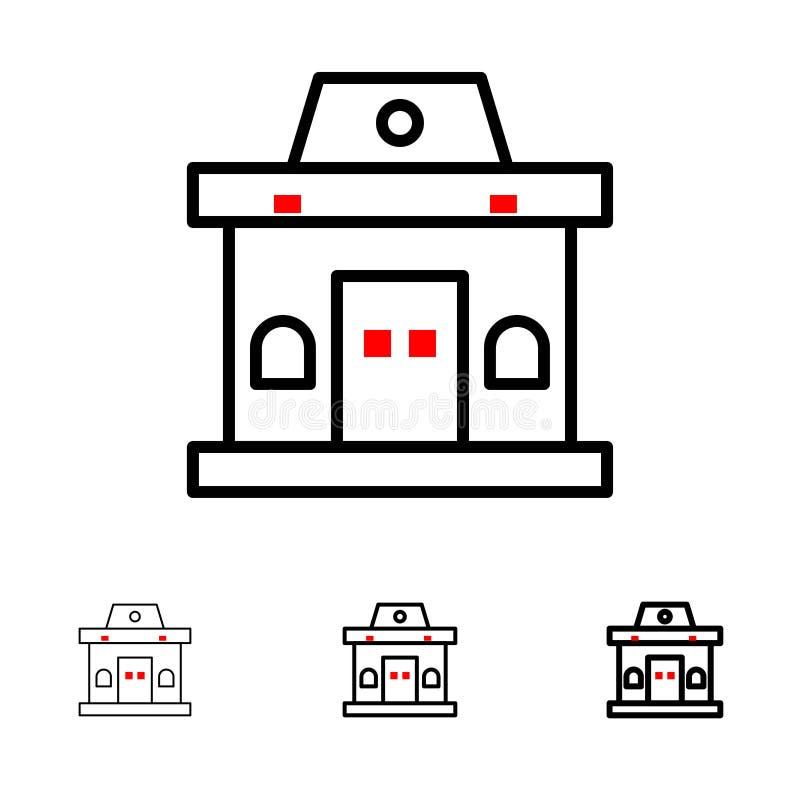 Здание, офис, билет, городская смелая и тонкая черная линия набор значка иллюстрация вектора
