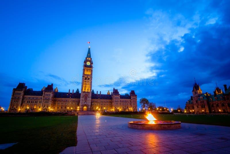 Здание парламента Канады и пламя centennial стоковая фотография rf