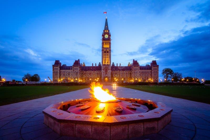 Здание парламента Канады и пламя centennial стоковое фото rf