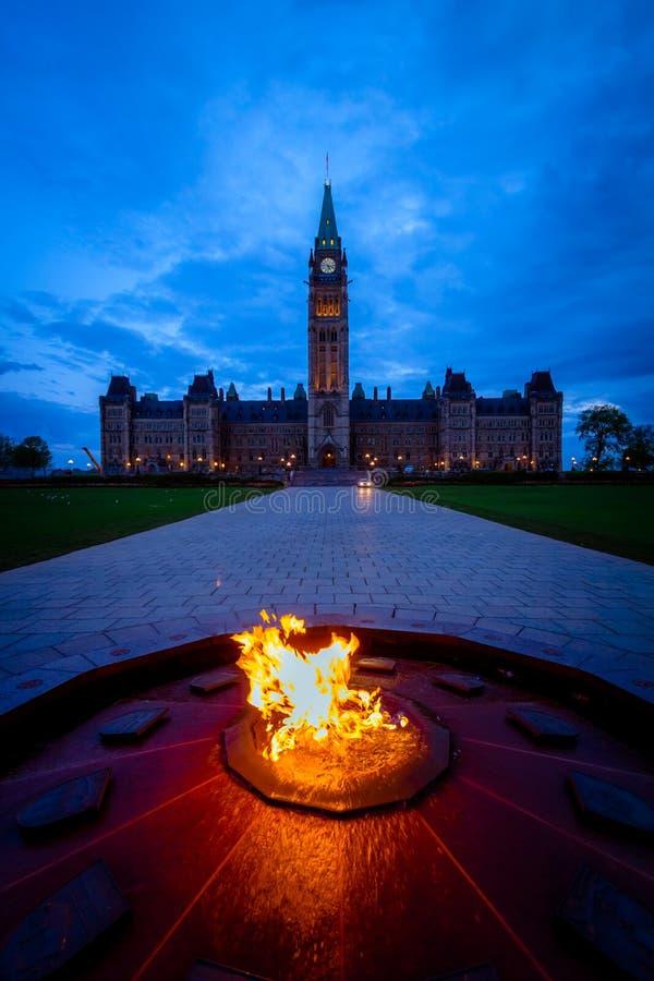 Здание парламента Канады и пламя centennial стоковое фото