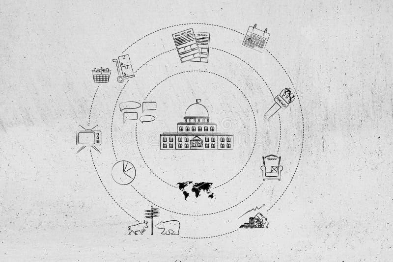 Здание правительства wsurrounded средствами массовой информации и citizenshi экономики бесплатная иллюстрация