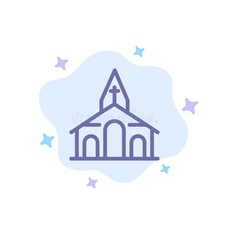 Здание, рождество, церковь, значок весны голубой на абстрактной предпосылке облака иллюстрация штока