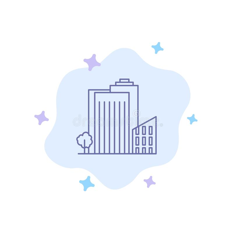 Здание, строение, спальня, башня, значок недвижимости голубой на абстрактной предпосылке облака иллюстрация вектора