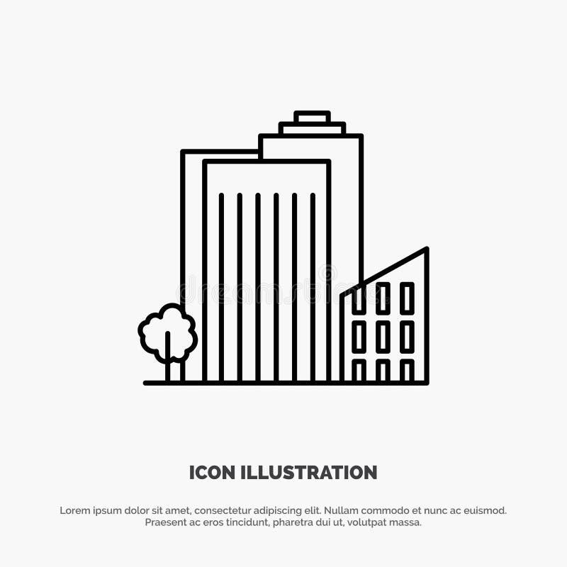 Здание, строение, спальня, башня, линия вектор недвижимости значка иллюстрация вектора