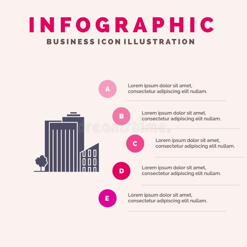 Здание, строение, спальня, башня, предпосылка представления шагов Infographics 5 значка недвижимости твердая бесплатная иллюстрация