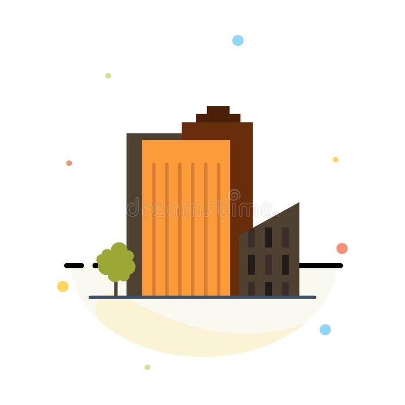 Здание, строение, спальня, башня, шаблон значка цвета конспекта недвижимости плоский иллюстрация вектора