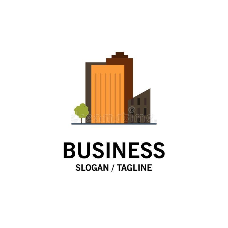 Здание, строение, спальня, башня, шаблон логотипа дела недвижимости r иллюстрация вектора
