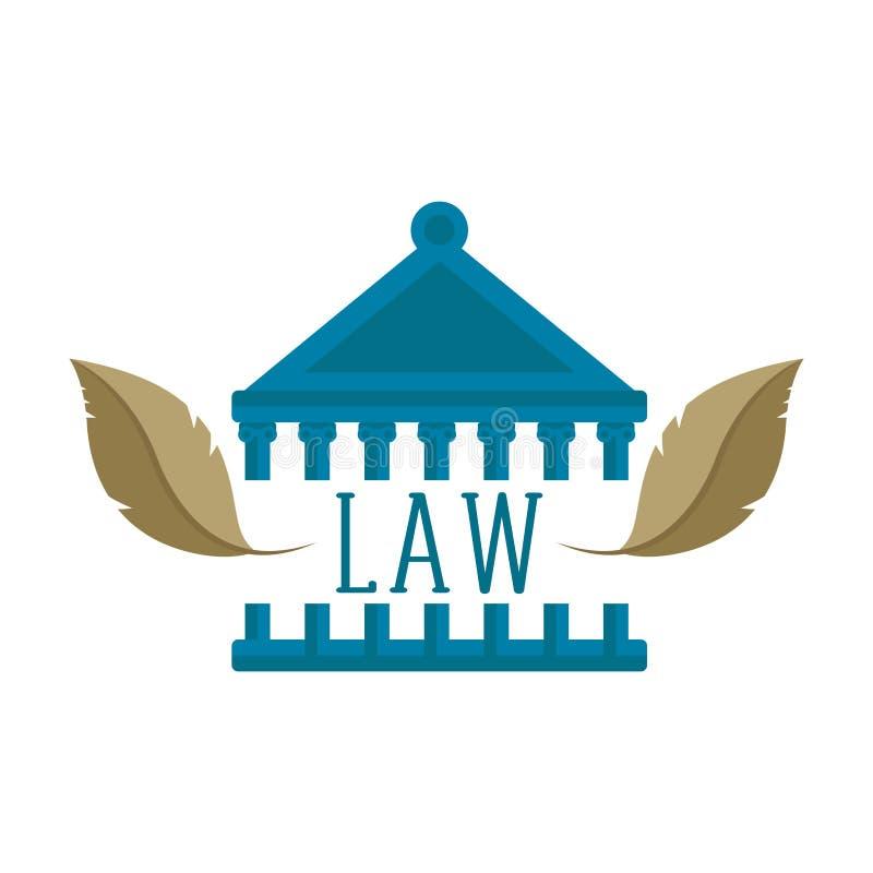 Здание суда с парой значков пера бесплатная иллюстрация