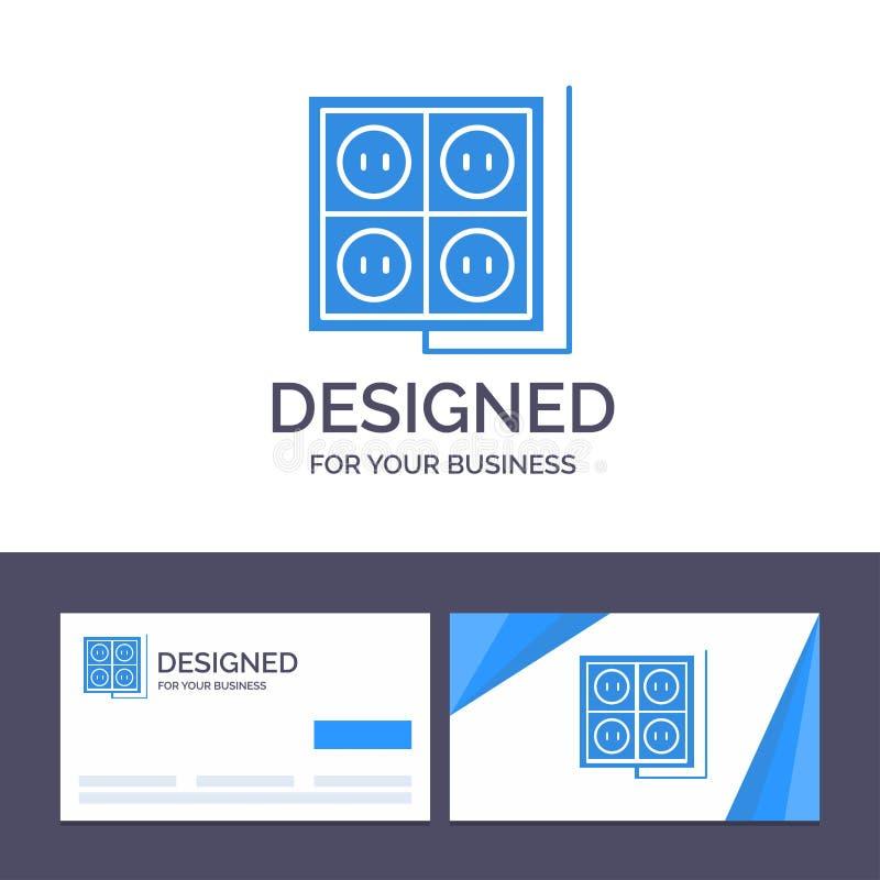 Здание творческого шаблона визитной карточки и логотипа, конструкция, штепсельная вилка, гнездо, иллюстрация вектора инструмента иллюстрация штока
