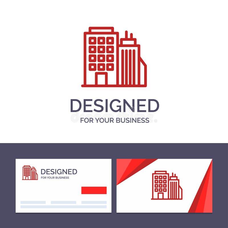 Здание творческого шаблона визитной карточки и логотипа, офис, башня, иллюстрация вектора головного офиса иллюстрация вектора