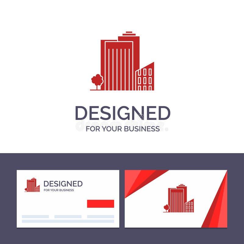 Здание творческого шаблона визитной карточки и логотипа, строение, спальня, башня, иллюстрация вектора недвижимости иллюстрация вектора