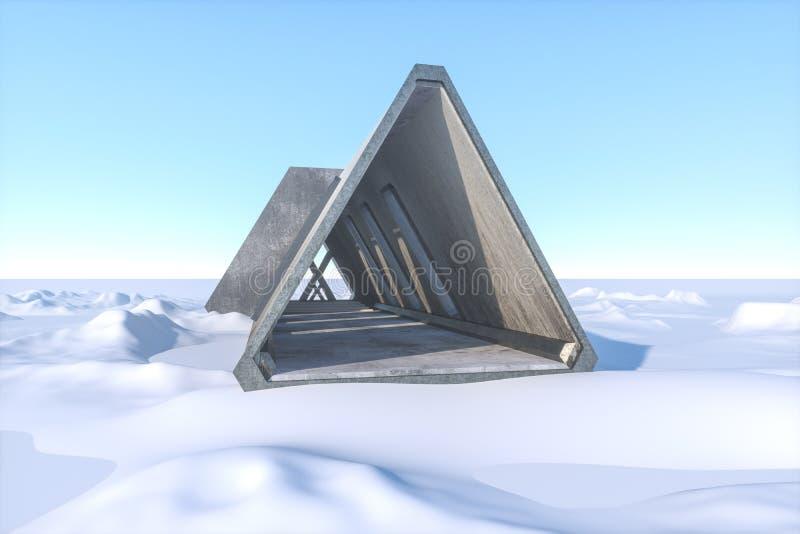 Здание тоннеля фантазии конкретное, тоннель треугольника r иллюстрация штока