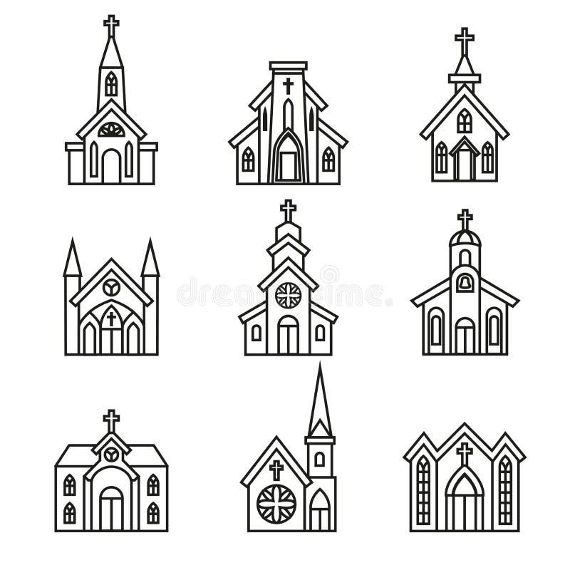 Здание церкви, христианская церковь христианская часовня, собор, приходский икон иллюстрация вектора