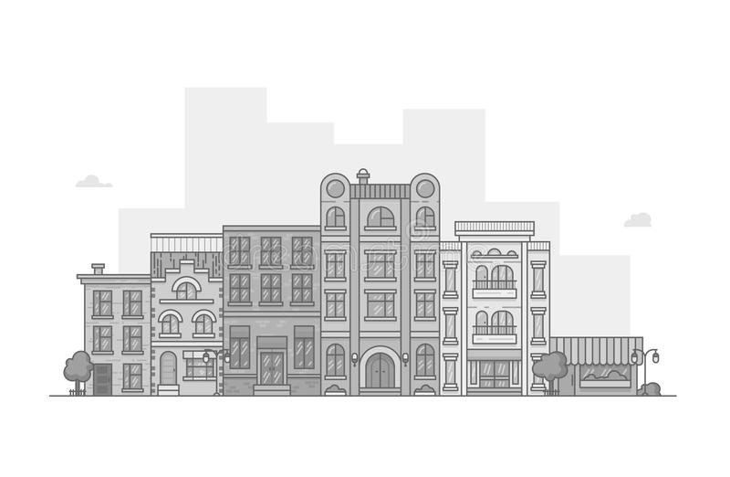 Здания улицы серой шкалы стоковое фото
