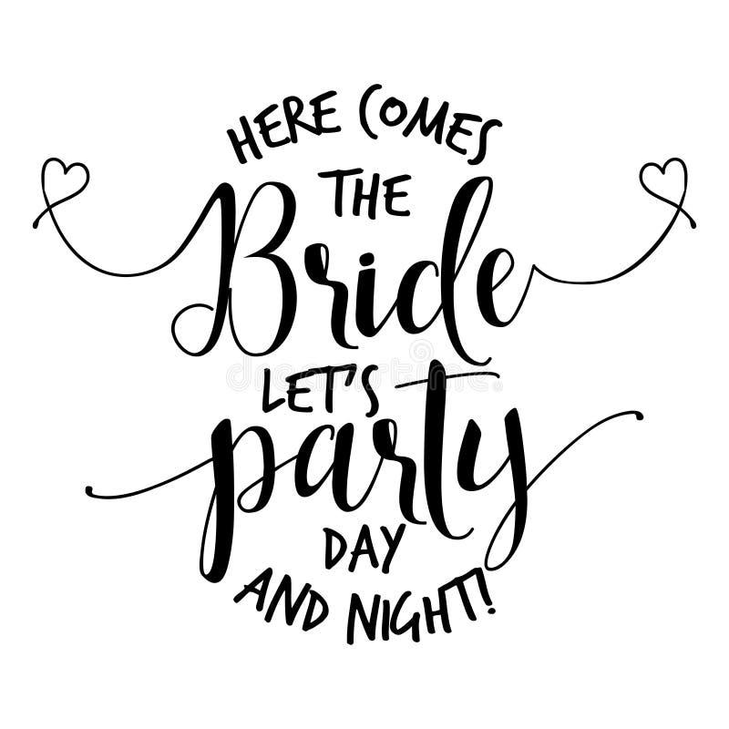Здесь приходит невеста позволила партии ` s иллюстрация вектора
