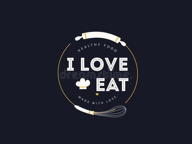 Здоровая влюбленность еды i ест сделанный с значком влюбленности иллюстрация штока