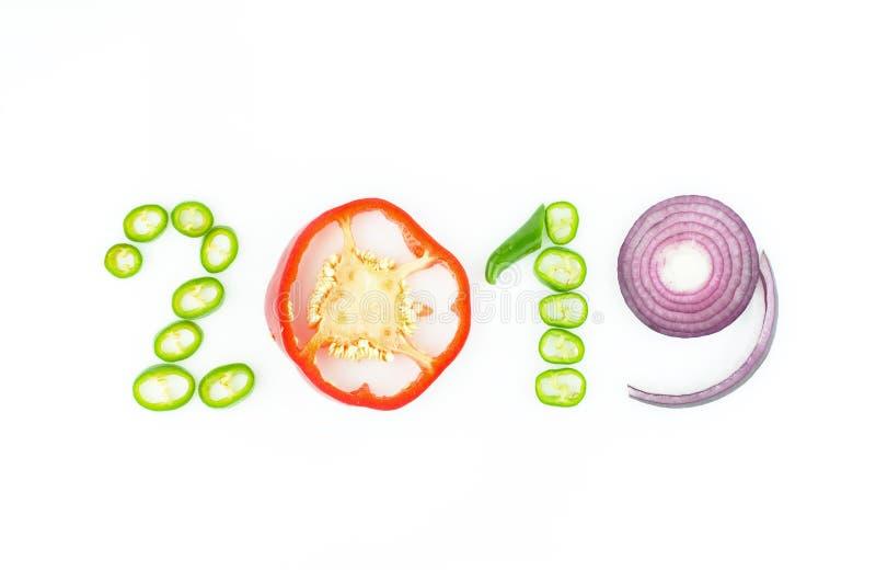 Здоровая еда и диета праздников Решения ` s 2019 Новых Годов около стоковые фотографии rf