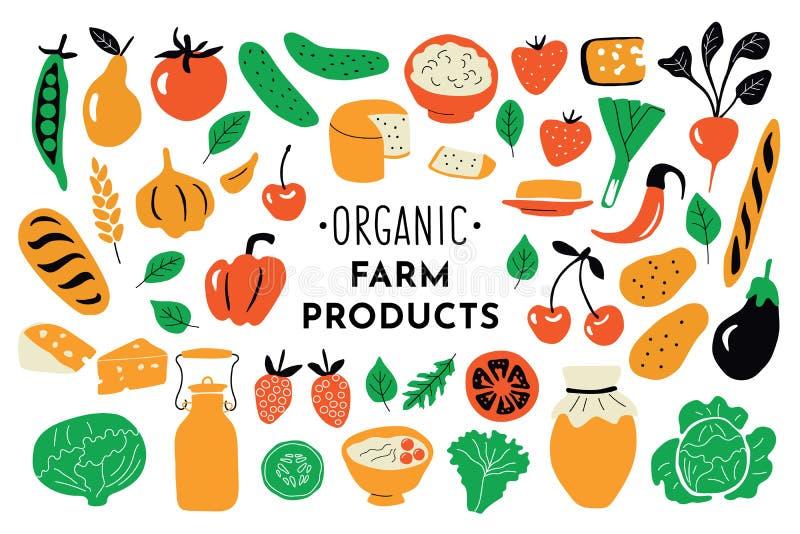 Здоровая еда, органический набор продуктов Иллюстрация вектора смешной руки doodle вычерченная Собрание питания рынка фермы милое иллюстрация штока
