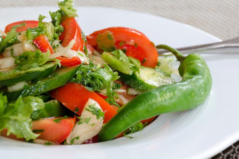 Здоровая естественная еда, свежий салат с овощами в плите стоковая фотография rf