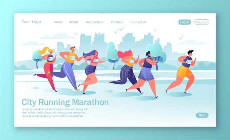 Здоровая концепция образа жизни для мобильного вебсайта, интернет-страницы Расстояние марафона активных характеров людей идущее иллюстрация вектора