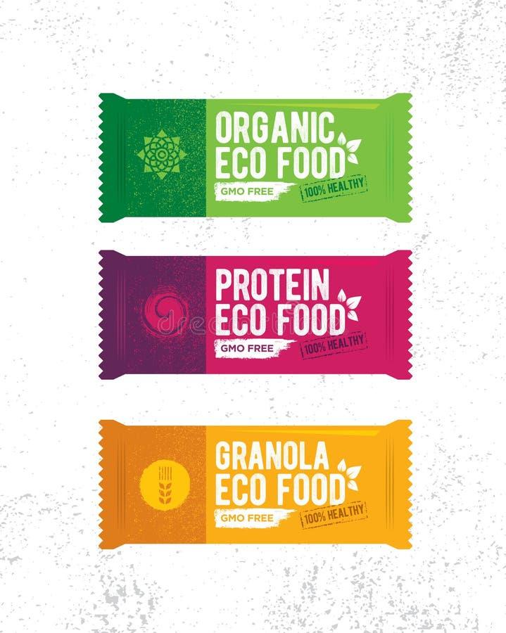 Здоровая органическая иллюстрация снэк-бар Сырцовый концерт дизайна вектора еды Eco на предпосылке Grunge грубой иллюстрация вектора