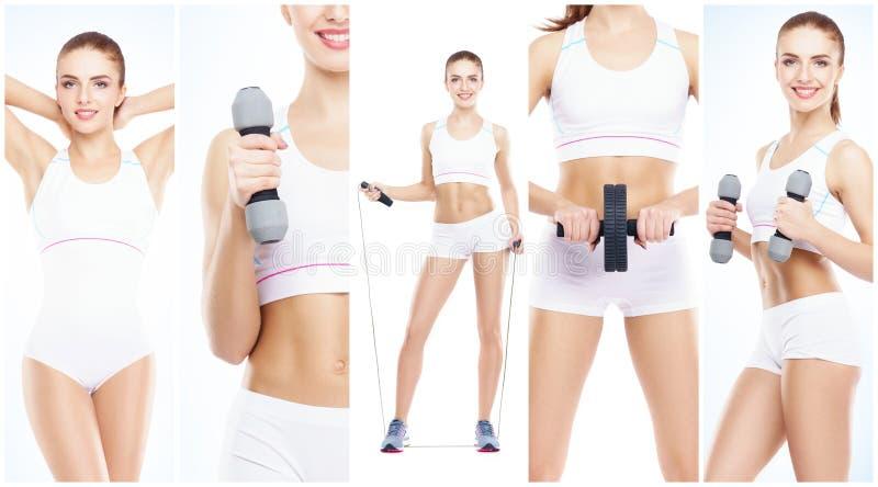 Здоровая, sporty и красивая девушка изолированная на белой предпосылке Женщина в собрании разминки фитнеса Питание, диета стоковое фото