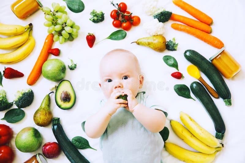 Здоровое питание ребенка младенца, предпосылка еды, взгляд сверху стоковое изображение