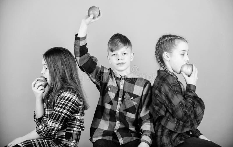 Здоровое питание dieting и витамина Мальчик и подруги едят закуску яблока пока ослабляющ Концепция закуски школы Группа стоковое изображение