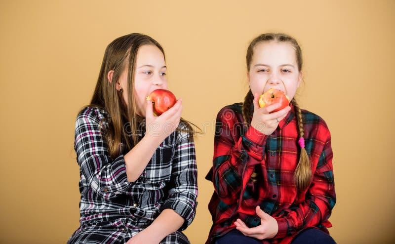 Здоровое питание dieting и витамина Подруги едят закуску яблока пока ослабляющ Концепция закуски школы Подросток с стоковые изображения rf