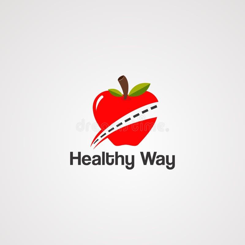 Здоровые вектор, значок, элемент, и шаблон логотипа пути иллюстрация штока