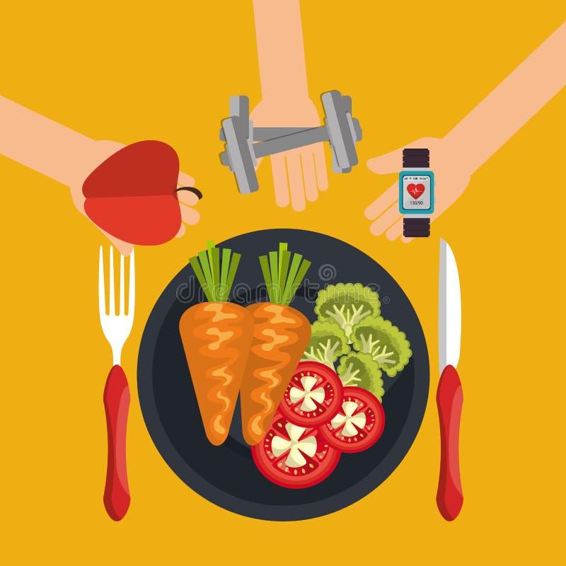 Здоровые значки еды и фитнеса бесплатная иллюстрация