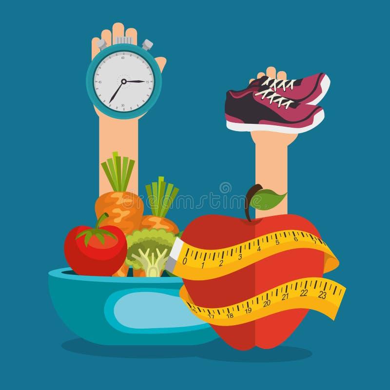 Здоровые значки еды и фитнеса иллюстрация штока