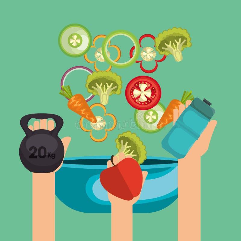 Здоровые значки еды и фитнеса иллюстрация вектора