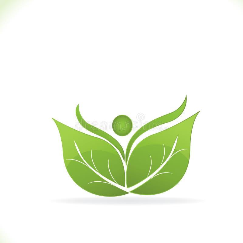 Здоровые листья и счастливый логотип значка людей vector иллюстрация бесплатная иллюстрация