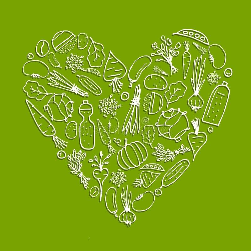 здоровые овощи формы жизни сердца иллюстрация штока