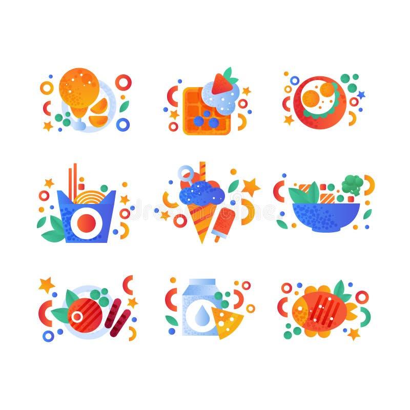 Здоровые органические продукты и комплект фаст-фуда, жареная курица, бельгийский waffle, вок лапшей, зажарили рыб, молока и сыра иллюстрация штока