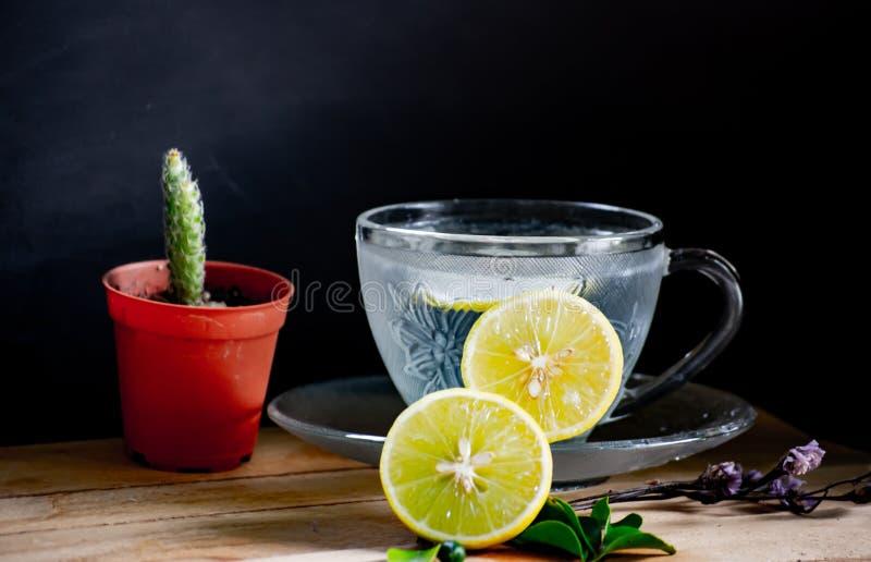 Здоровые питье, сода лимона, травяное питье в красивом кристаллическом стекле с малым баком блюда и кактуса на деревянном столе с стоковая фотография